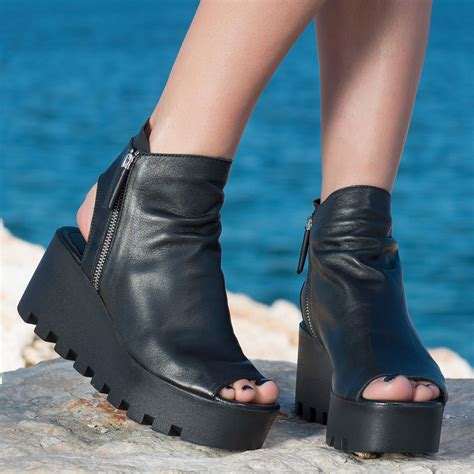 Genuine Leather Platform Sandals by Awesome Genuine Leather Espadriles Black Genuine Leather