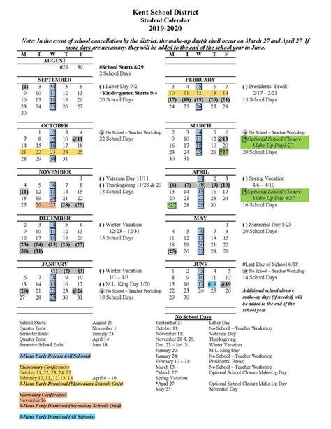 kent school district announces   school calendar voice   valley
