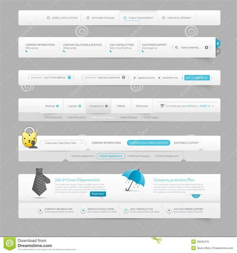 web design icon navigation web design template navigation elements with icons stock