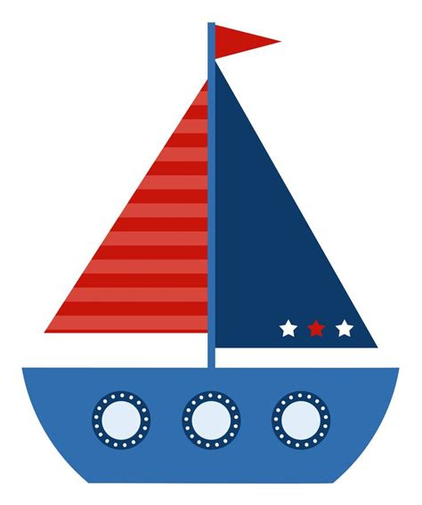 red boat clipart sail