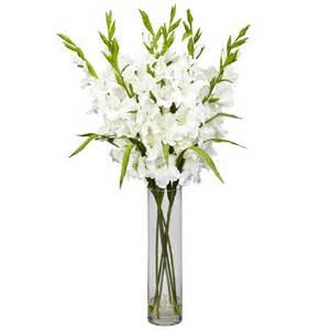 Large Vases With Artificial Flowers Large Silk Gladiola Arrangement In Cylinder Vase 1240
