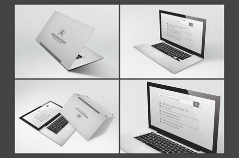 Folded Business Card Template laptop folded business card template business card templates on creative market