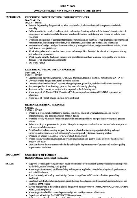 design engineer electrical resume design electrical engineer resume sles velvet jobs