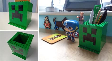 How Do You Make A Desk In Minecraft by Minecraft Lego Creeper Desk Tidy By Dogtorwho On Deviantart
