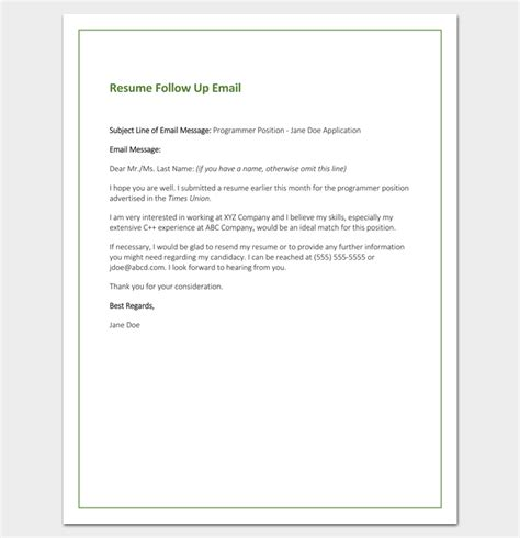 email sle for sending resume follow up letter template 10 formats sles exles