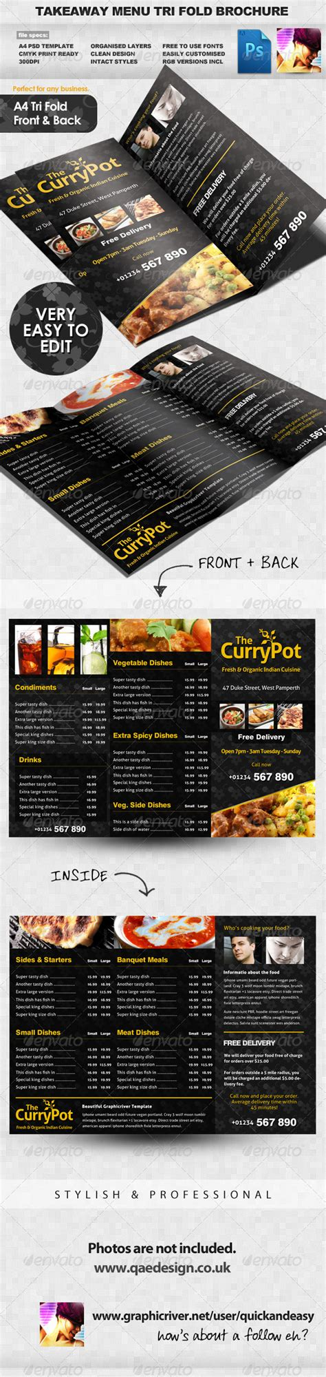 takeaway menu design templates takeaway food menu trifold brochure template graphicriver