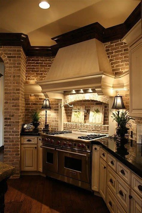 brick light cabinets kitchen colors