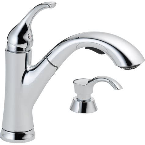 kitchen faucet chrome shop delta kessler chrome 1 handle deck mount pull out kitchen faucet at lowes
