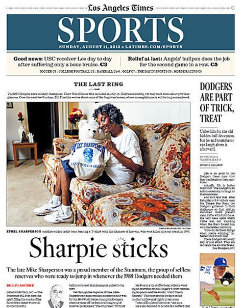 sports section times sports section is honored by associated press latimes
