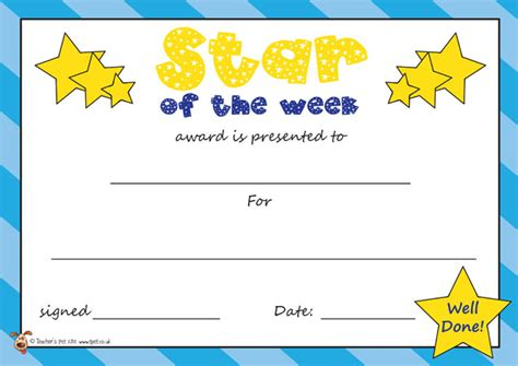 printable star of the day certificates teacher s pet star of the week certificate free