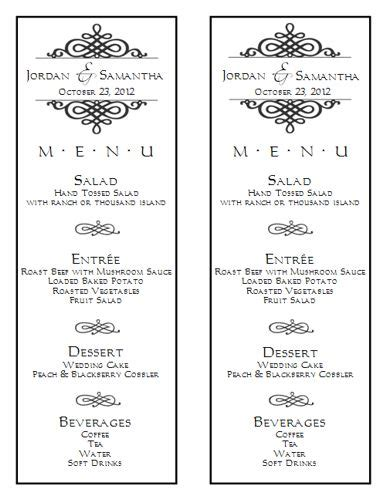Wedding Menu Template 6 Wedding Menu Templates Wedding Menu Size Template