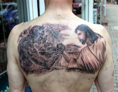 lucifer tattoo jesus vs satan on back