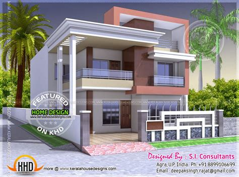 home design plans india north indian style flat roof house with floor plan