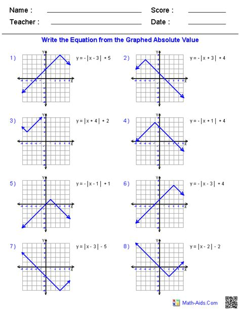 Graphing Absolute Value Equations Worksheet Answers algebra 1 worksheets linear equations worksheets