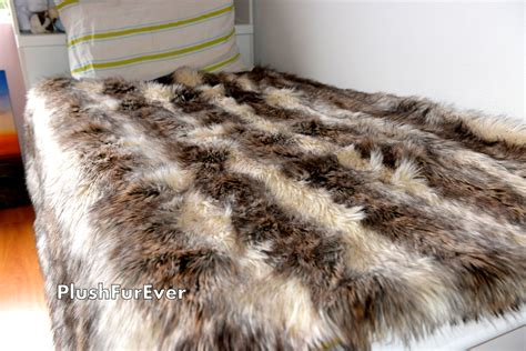 fur coverlet coyote faux fur twin queen king bedding decor long plush