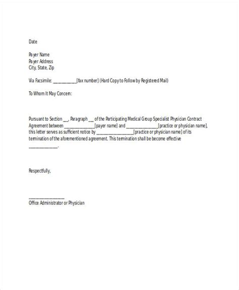 cancellation letter from doctor 53 termination letter exles