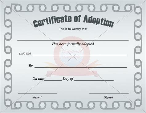 adoption certificate templates adoption papers free chlain college