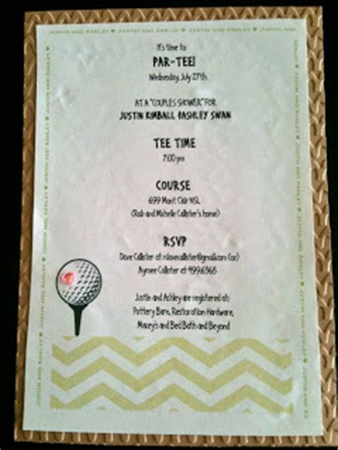 Golf Themed Wedding Invitations by Just For Golf Themed Couples Bridal Shower