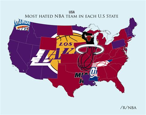 nba usa map here are the maps of the most hated sports teams in the us