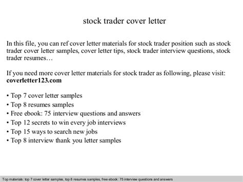 Stock Market Trader Cover Letter by Stock Trader Cover Letter