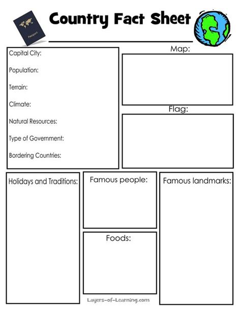 fact card template country fact sheet use this printable to research the