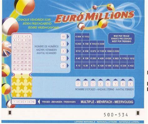 Euromillion Grille by Grille Millions De La Belgique