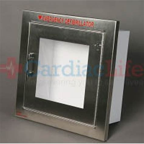 Alarmed AED Wall Cabinet Stainless Steel   Cardiac Life