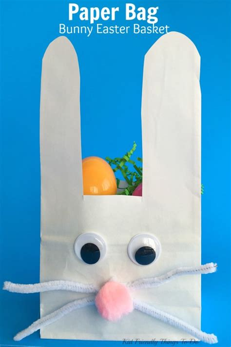 Easter Paper Bag Crafts - paper bag bunny easter basket craft for kid
