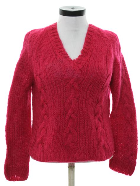 pink knit wallpaper vintage camelia seventies sweater 70s camelia womens