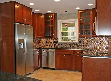 small tile backsplash in kitchen tile backsplash ideas for cherry wood cabinets home
