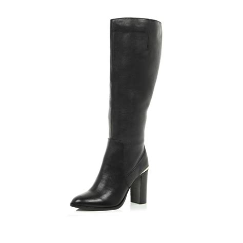 river island black leather wide leg fit knee high boots in