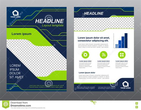 page layout design free vector layout flyer template size a4 cover page green light line