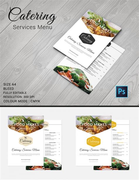 catering menu template free catering menu template 30 free psd eps documents