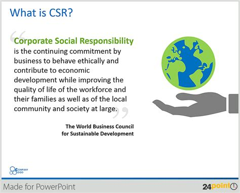 powerpoint layout meaning illustrate corporate social responsibility presentation