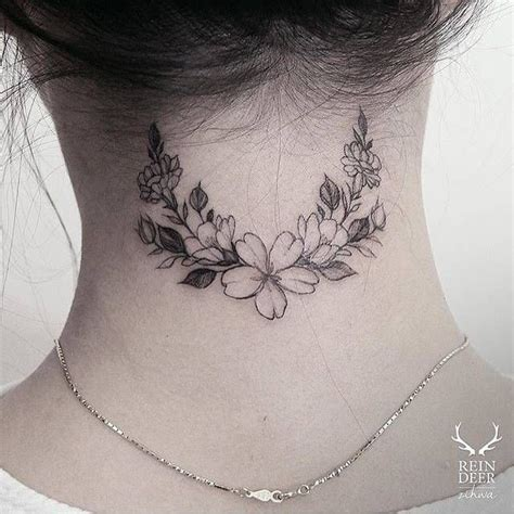 tattoo flower neck flower wreath tattoo on the back of the neck tattoo