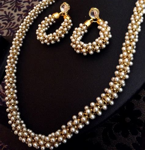 Set Pearls Necklace buy beautiful chandni pearls woven in golden metal indian pearl necklace set d20 copy peepinto