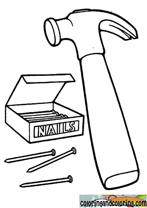 Coloring Page Hammer by The Gallery For Gt Hammer Nail Coloring Page