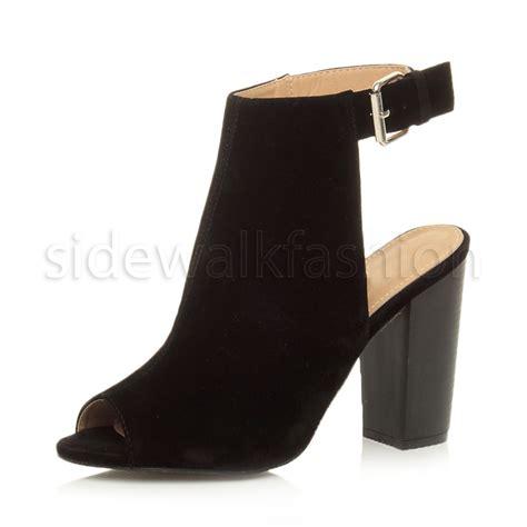 high heel boots open toe womens high block heel peep toe open back ankle