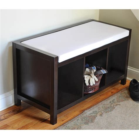 entryway storage bench with cushion open storage entryway bench with cushion 194749 living room at sportsman s guide