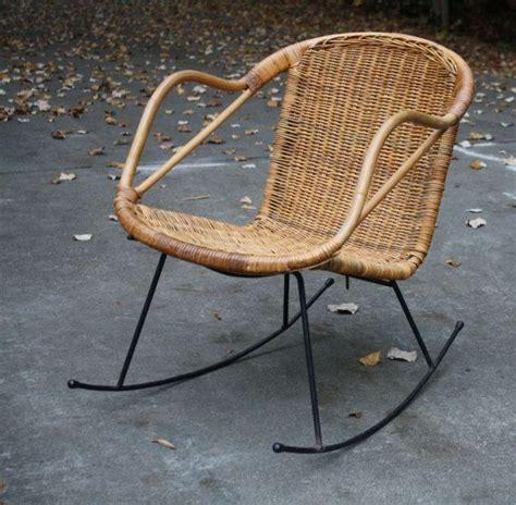 mid century danish modern style wicker rattan rocking