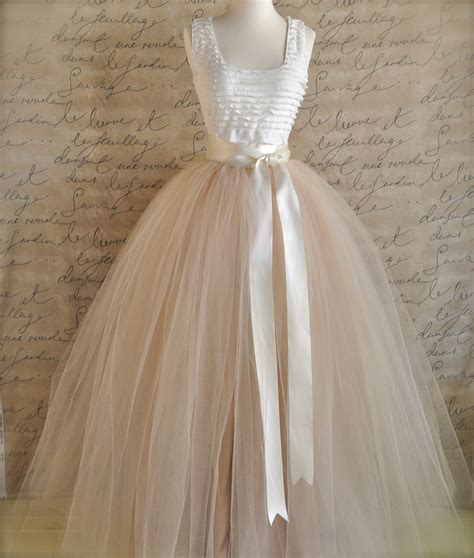 Wedding Skirt by Length Chagne Tulle Skirt Chagne Tulle Lined In
