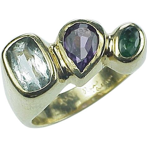 custom aquamarine lab alexandrite emerald ring 14k gold