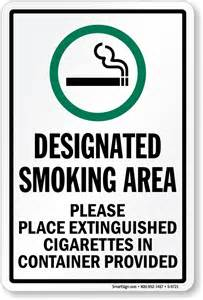 Green Bathroom Colors - designated smoking area sign place cigarettes in container sku s 9721