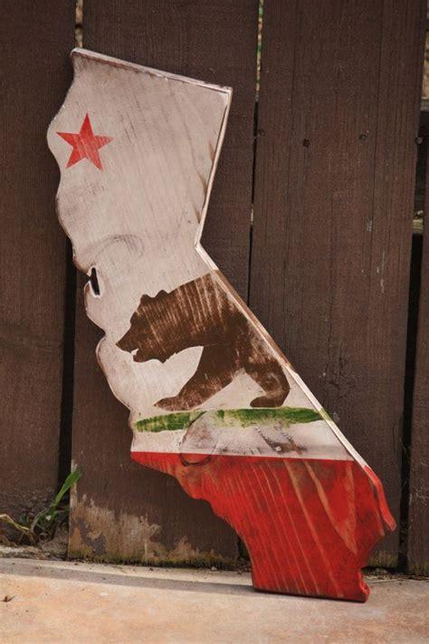 california decor state of california flag rustic stressed around the