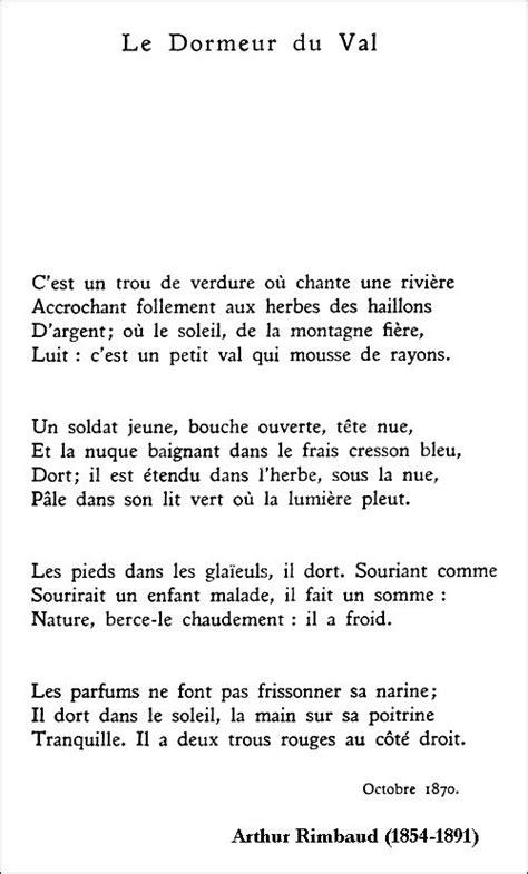 dormeur du val texte arthur rimbaud le dormeur du val poetry poems