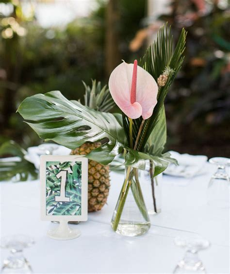 tropical key west wedding tropical centerpieces