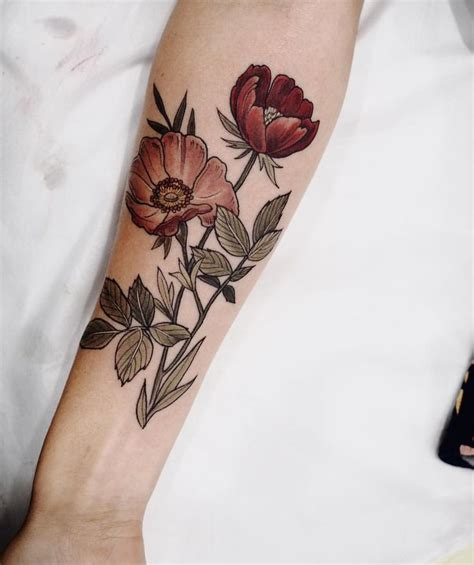 poppy and rose tattoo best 20 ideas on