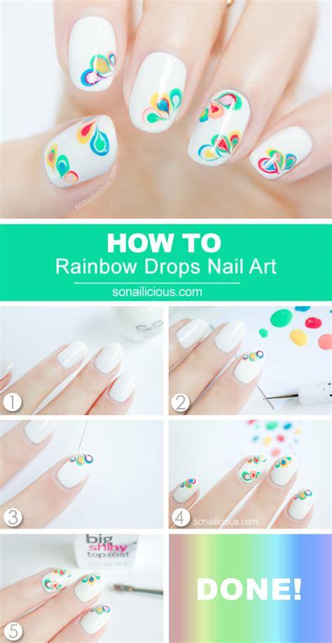 tutorial nail art marble rainbow drops drag marble nail art tutorial