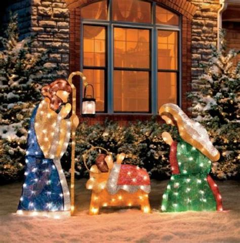 3 pc holographic lighted christmas outdoor nativity scene set 3 pc set outdoor lighted holy family nativity yard decor ebay