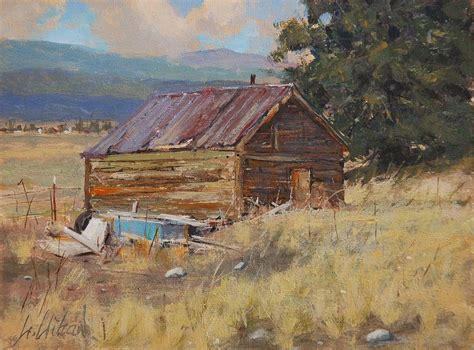Cripple Creek Colorado Cabins by Cripple Creek Cabin Painting By Greg Clibon